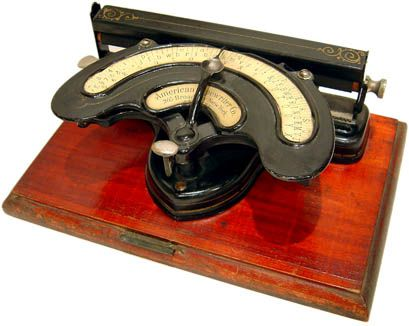 Index typewriter (a writing machine in which the action of selecting a letter is separate from the action of printing that letter). Index typewriters were popular alternatives to keyboard typewriters in the 19th century, as you can understand when you compare prices: a Remington cost $100, an American index $5.