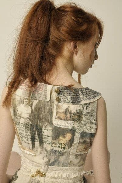 Harriet Popham's narrative dress celebrating the relationship between her mother and father in letters and photographs, transfered, embroidered and embelished via Hazel Terry on Thread, Fashion and Costume Wednesday, 8 January 2014