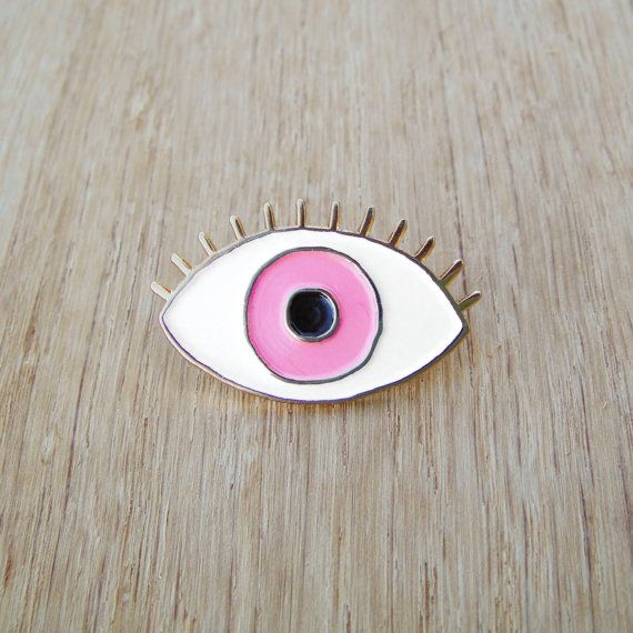 ***LIMITED EDITION *** The blue eye pin was sold out but I just got it restocked in various fun colors! This is the PINK eye enamel pin! Made of