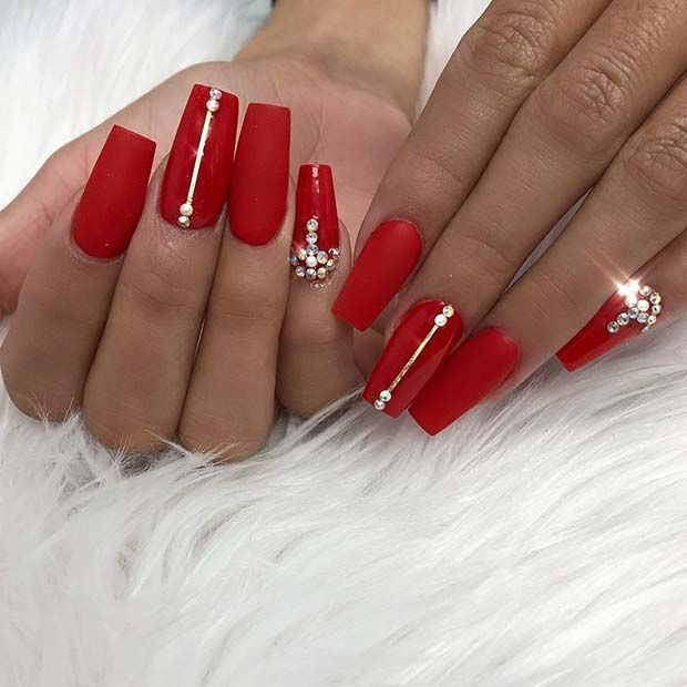 43 Beautiful Prom Nails For Your Big Night Page 4 Of 4 Stayglam Red Acrylic Nails Red Nails Rhinestone Nails