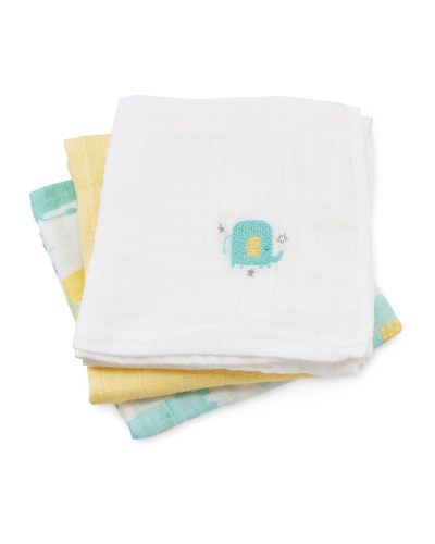 Elephant Muslin Cloths 3-Pack