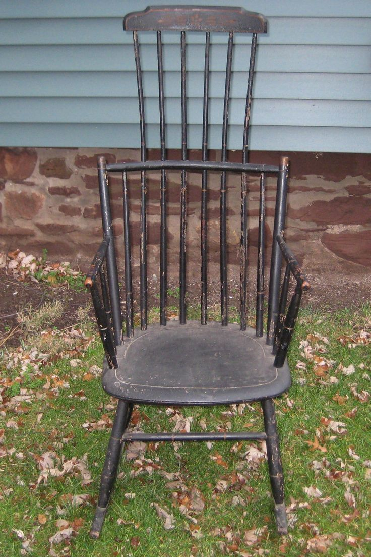 This israel sack american federal mahogany antique lolling arm chair - New England Comb Back Windsor Rocker In An Old Crazed Black Over Original Black Very Nice Form With A High Comb Nice New England Paint Decoration On