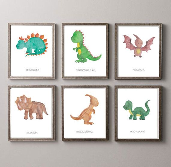 6 Dinosaurs Watercolor Prints Nursery Room or by SoulyPrints