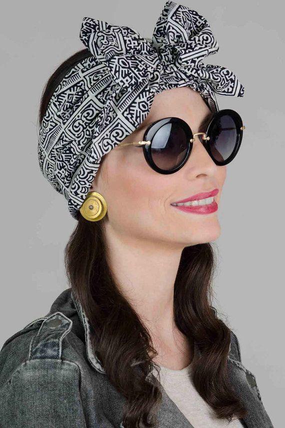 Black and white Printed Dolly Bow Headband, Women Bow Headband, Bohimian Headband, Statment Tie On Headband