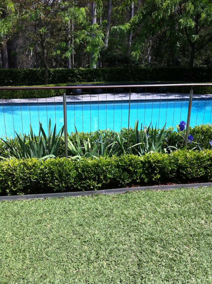 Really like this subtle pool fence with landscaping on both sides. Maybe for north and east sides of pool?