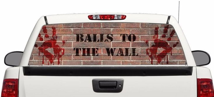 Blood hands wall rear window graphics Decal Sticker 50/50view 66''x22'' Truck #Perforated