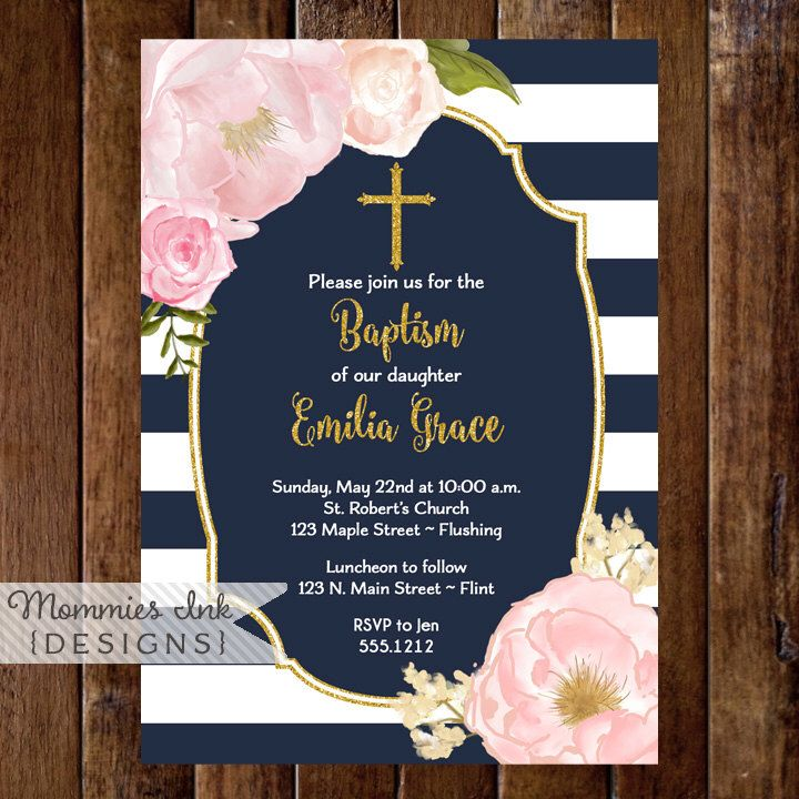 Navy Pink and Gold Baptism Invitation Dedication