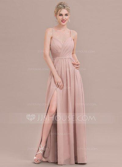 [US$ 102.99] A-Line/Princess Sweetheart Floor-Length Chiffon Bridesmaid Dress With Ruffle Split Front
