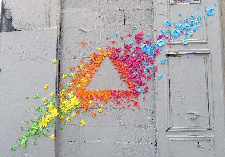 Origami street art!!! (Mademoiselle Maurice)