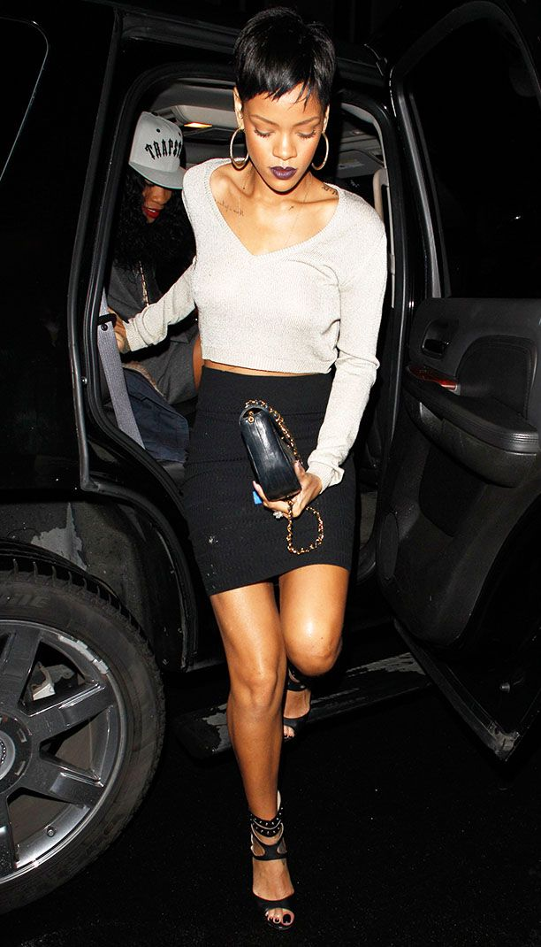 Rihanna - White Long-Sleeved Crop Top, Black Pencil Skirt & Black Peep-Toe Heels