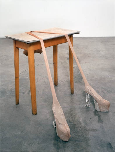 SPREAD YOURSELF LITTLE TABLE / SARAH LUCAS / 2005  Humour, installation, appropriation