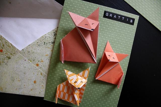 Tyg och otyg. Origami fox card