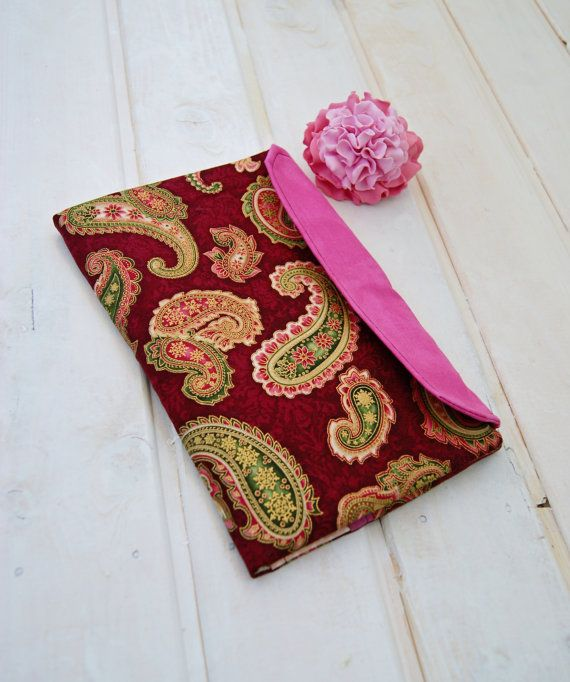 Holder for documents burgundy Paisley A5 / Folder / от RabbitLia
