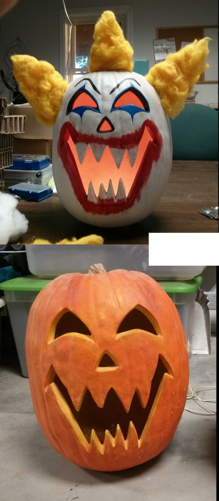 Dollar yardsale find turned into theme pumpkin. Created by emergencyfan for Le Chat Noir's 2015 Creepy Carnival Halloween