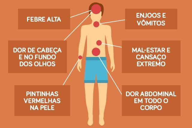 Sintomas da dengue clássica e hemorrágica