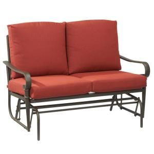 Hampton Bay Oak Cliff Metal Outdoor Glider With Chili Cushions 176 411 Gld At
