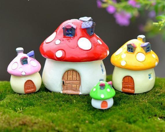 Fashion Miniature Mushroom Garden Landscape Ornament Figurine Fairy House Decor