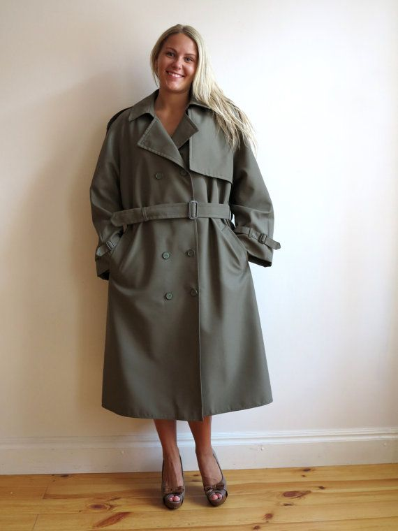 vintage womens khaki olive green trench coat trenchcoat. Black Bedroom Furniture Sets. Home Design Ideas