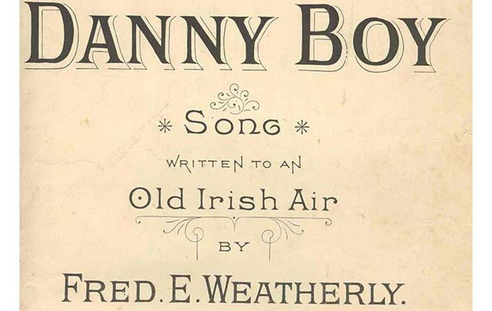 "An original cover for the sheet music of ""Danny Boy"", actually written by an Englishman Frederic Weatherly."