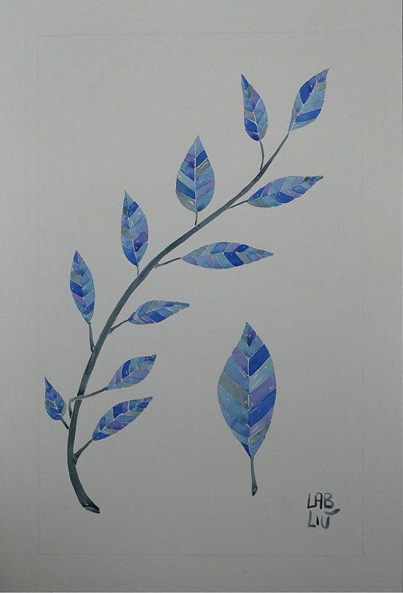Illustrazione originale ad acquarello tema natura foglie di LabLiu