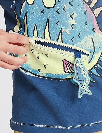 Pure Cotton Fish Print T-Shirt with Zip Mouth (1-7 Years) | M&S
