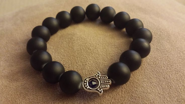 Men's Hamsa Hand Beaded Bracelet, Hamsa Bracelet for Him, Protection, Good luck…