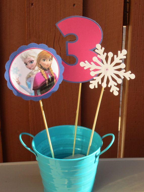 Disney Frozen Birthday Centerpiece by LittleBirdiPaperShop on Etsy
