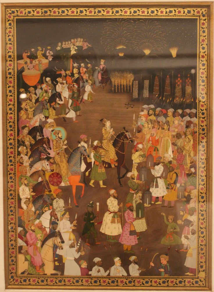 Miniature painting showing the marriage procession of Dara Shikoh National Museum India