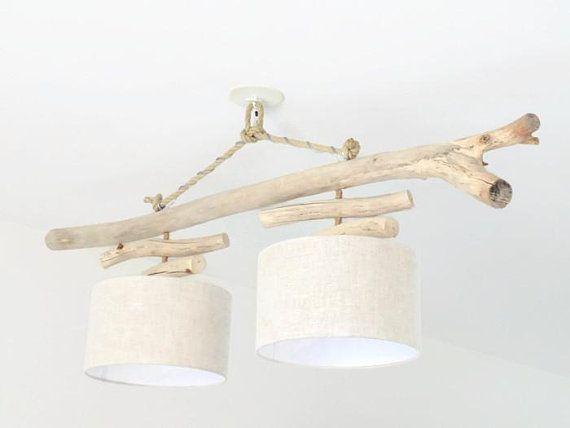 Lustre/plafonnier en bois flotté Lin 30 cm création