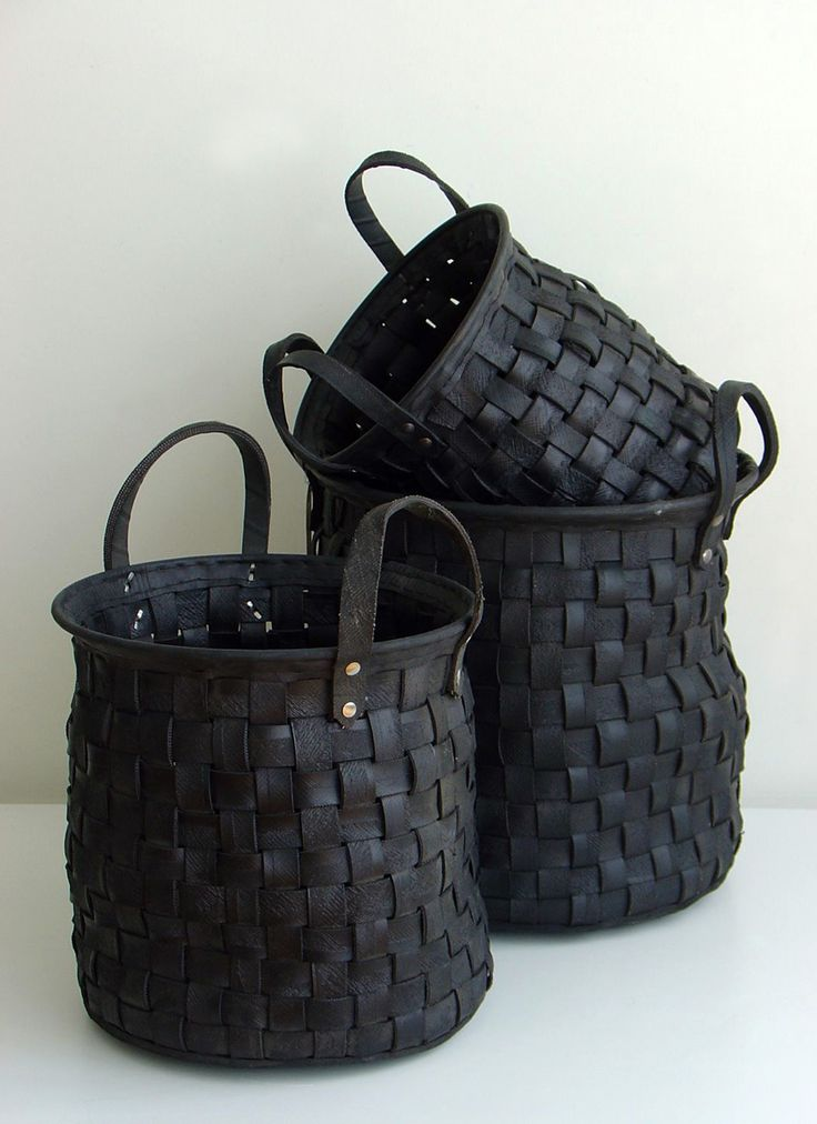 Recycled tire baskets. Very interesting! Garage organization?