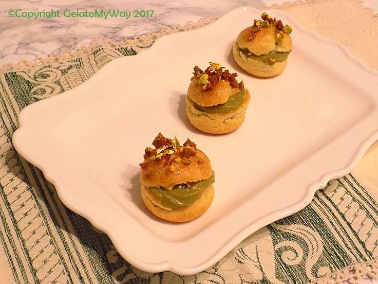 """Mini Choux Paris-Brest al pistacchio, il mio dessert per #indovinachivieneacena del blog My delicious Mag…  Vi è mai capitato di partecipare ad una cena """"virtuale""""? Sì, ave…"""