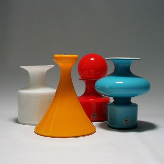 """Per Lütken, vases from the """"Carnaby"""" series for Holmegaard, 1968."""