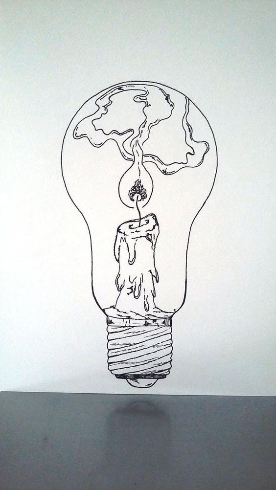 "Poster Illustration black and white bulb ""maintain a lit lamp"""