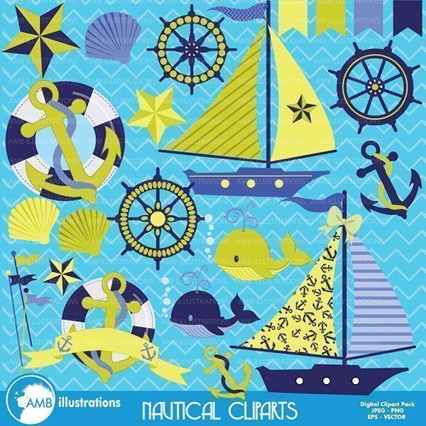 a complete pack of 24 nautical clipart from the boats wheel nautical star