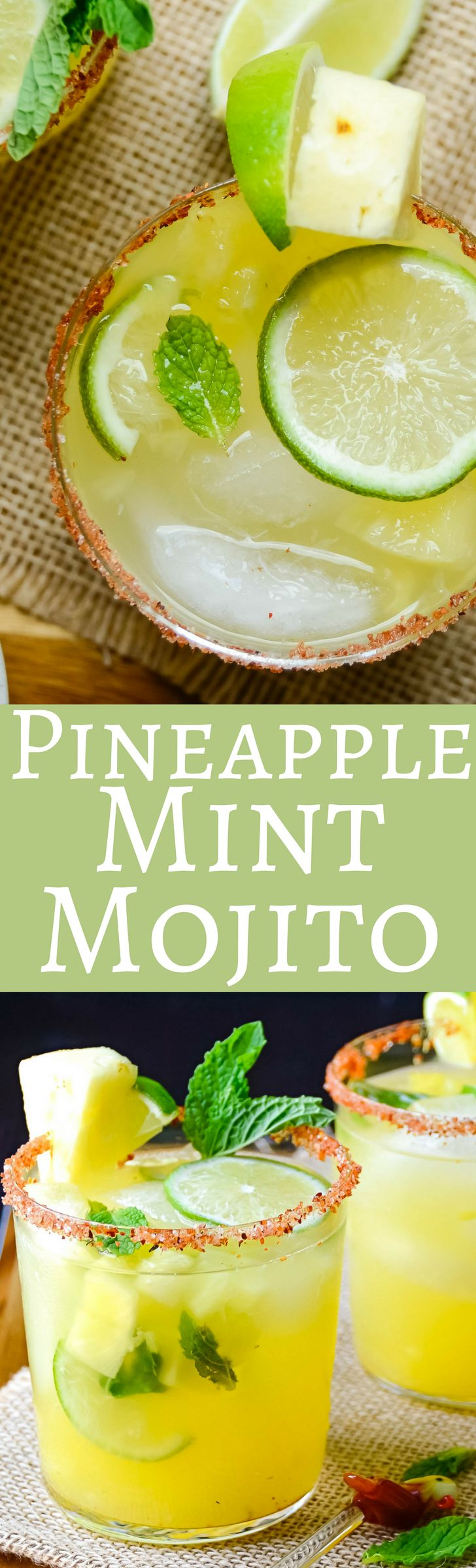 This easy pineapple mint mojito recipe with rum and triple sec has a sweet citrusy punch and a splash of soda! Perfect for a hot day! Ready in minutes!