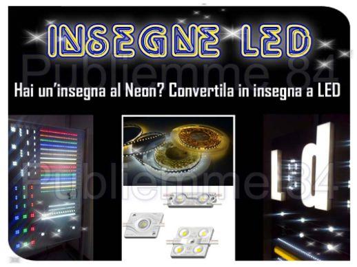 Produzione d'insegne luminose e conversione d'insegne al neon con tecnologia led.