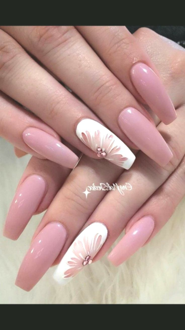 Pink Gel Coffin Nails With Floral Accent Nail Perfect For Spring Or Summer Accentnails Ombrenails Y Coffin Nails Designs Nail Designs Beautiful Nail Designs