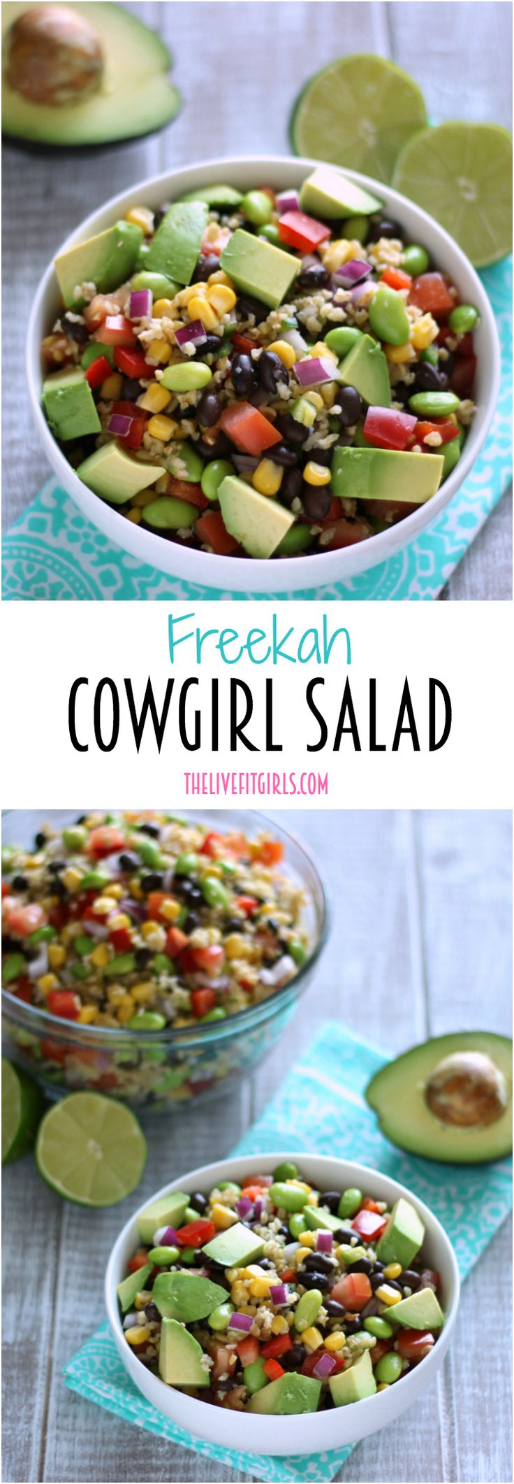 This remake of Cowboy Salad amps up the protein with freekah grains, edamame, and black beans. This colorful salad is the perfect side dish OR mail course!
