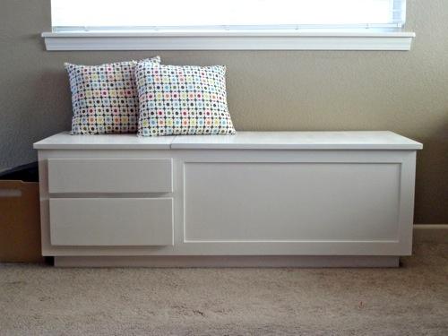 Living Room White Storage Bench