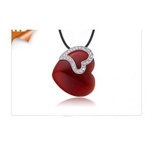 Inexpensive Heart Shape Agate Pendant for Women in Silver