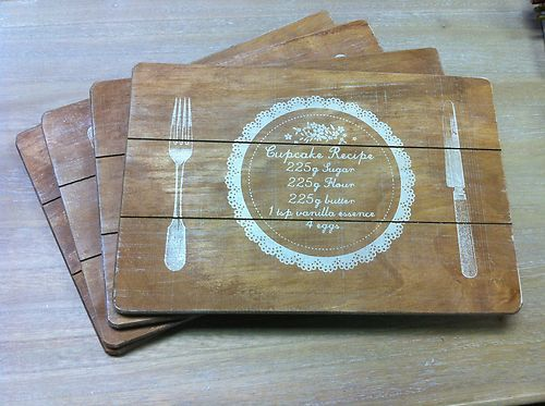 These would be easy to make for a picnic Wooden Place Mats Country Kitchen Chic Rustic Vintage Shabby | eBay