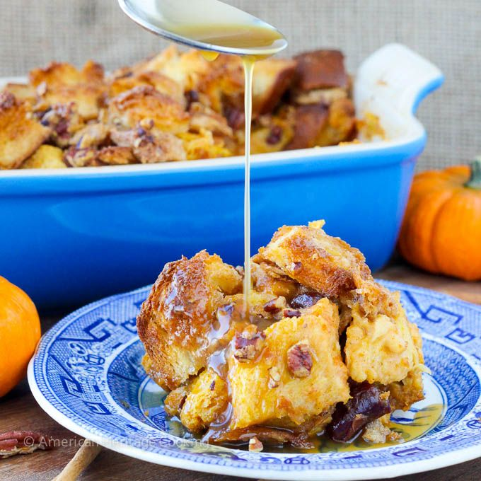 A creamy Pumpkin Spice Bread Pudding studded with Bourbon-soaked dried cherries and topped with a rich Maple Bourbon Cream Sauce! A decadent, yet incredibly easy dessert to pull together! A long, l...