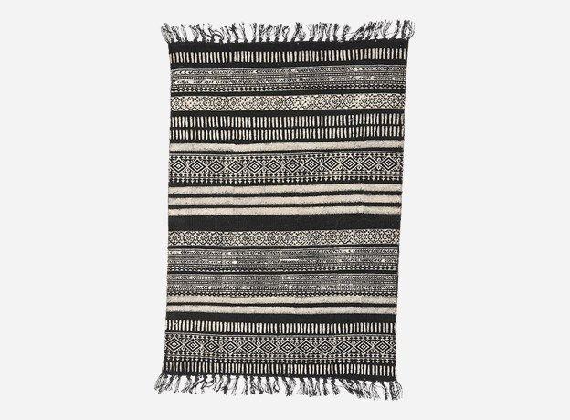 Ad0245 - Tæppe, Stack, sort/grå, 100% bomuld (str. kan variere)