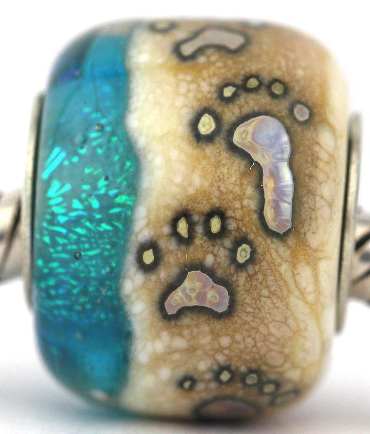 BEACH FOOTPRINTS AND PAW PRINTS fits Pandora and Trollbeads bracelets artisan murano glass charm bead. Cored with sterling silver. Made by glass artist Mandy Ramsdell