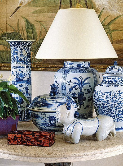 """John has been collection blue-and-white china for years, all sorts of pieces,"" Bunny writes of the enviable assemblage of ginger jars, vases, and vessels placed throughout the house."