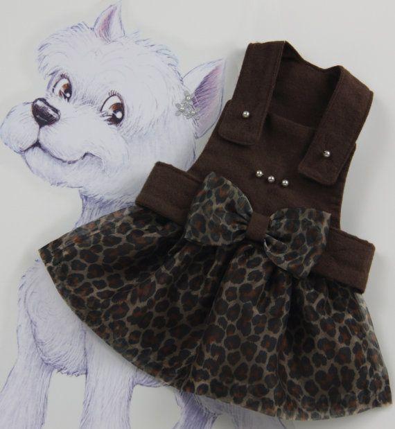 Fashion Printed Leopard Dog Dress S, M, Brown Dog Dress, Fall Dog Dress, Dog Apparel, Luxury Dog Dress, Leopard Dog Clothing. on Etsy, $45.00