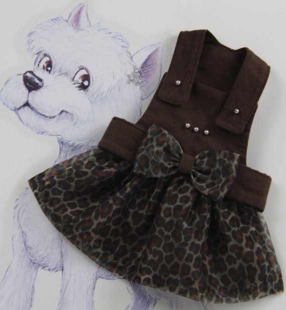 Fashion Printed Leopard Dog Dress S M Brown by SophiesPetCloset, $65.00