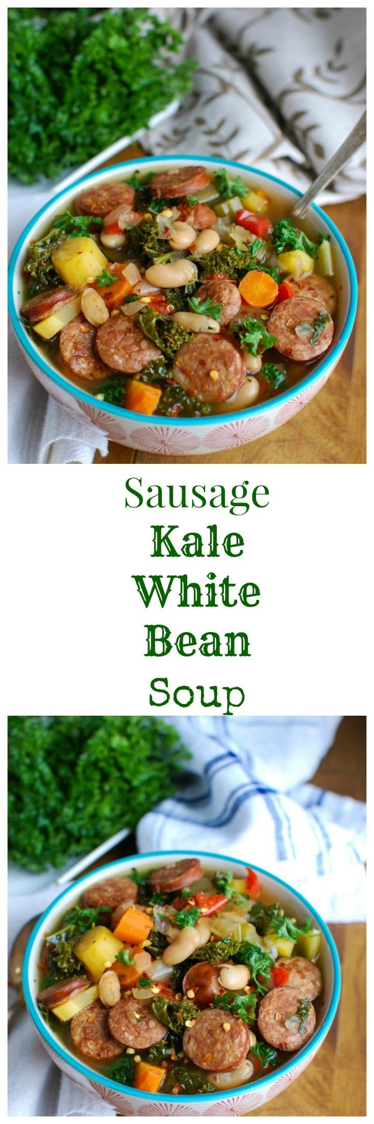 Slow Cooker Sausage Kale White Bean Soup is hearty and packed with protein and vitamins. This soup simmers in your slow cooker while you go about your day, leaving you with the perfect dinner for your family.  // A Cedar Spoon