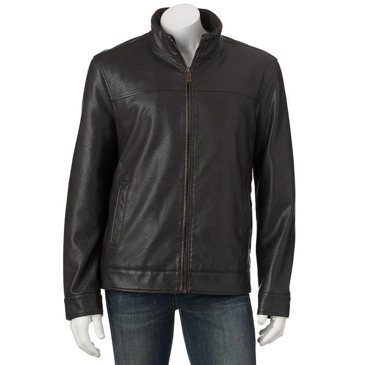 Men's Dockers Faux-Leather Jacket, Size: Medium, Dark Brown