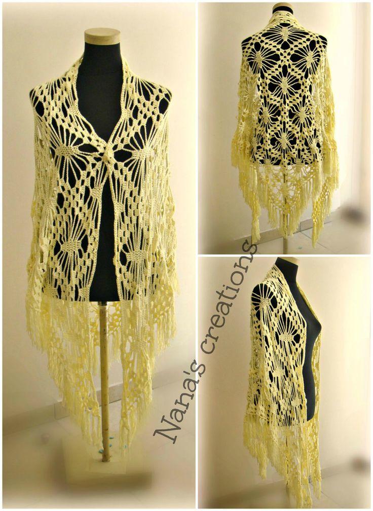 Handmade crochet shawl in lemon colour